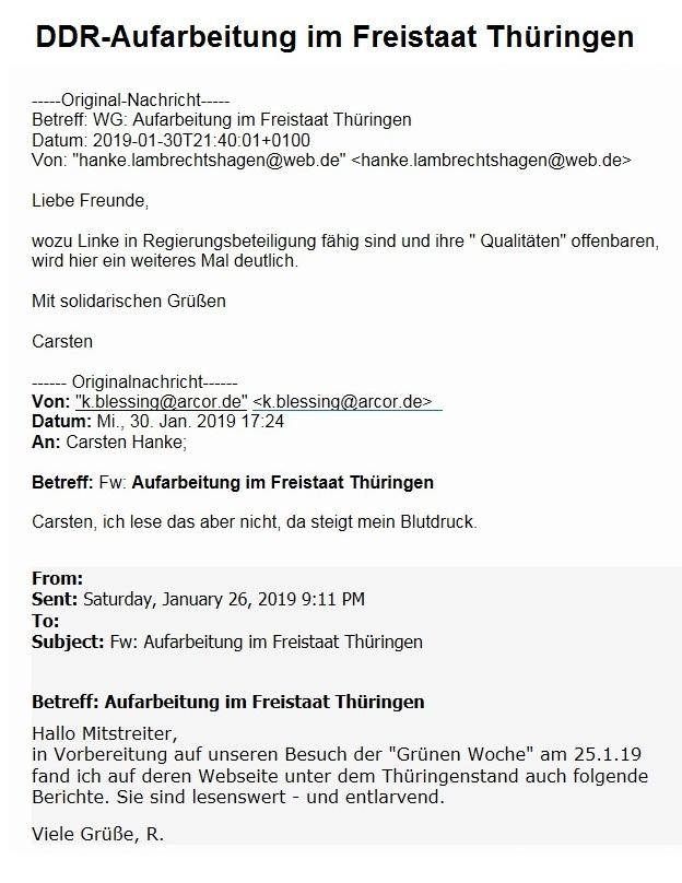 DDR-Aufarbeitung im Freistaat Thüringen - Liebe Freunde, wozu Linke in Regierungsbeteiligung fähig sind und ihre 'Qualitäten' offenbaren, wird hier ein weiteres Mal deutlich. Mit solidarischen Grüßen Carsten Hanke - Aus dem Posteingang -  Mittwoch, 30. Januar 2019, 21.40 Uhr