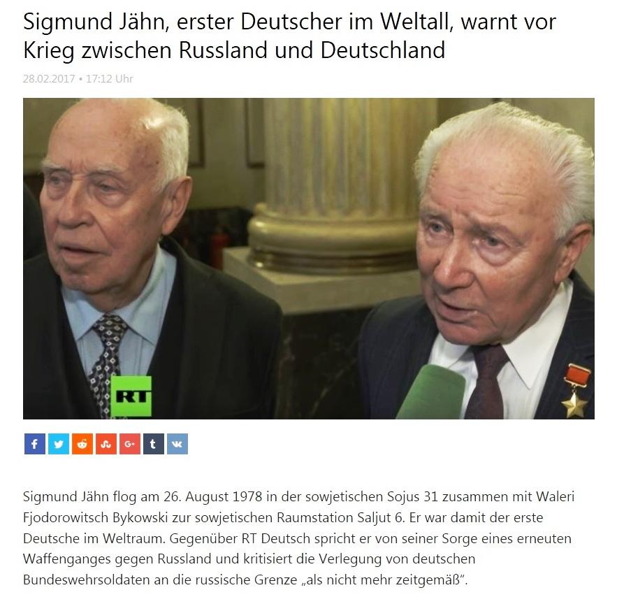 Sigmund Jähn, erster Deutscher im Weltall, warnt vor Krieg zwischen Russland und Deutschland