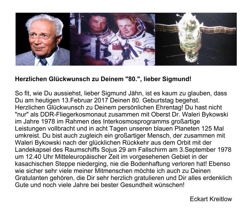 Herzlichen Glückwunsch zum 80.Geburtstag, lieber Sigmund - DDR-Fliegerkosmonaut Sigmund Jähn - der erste Deutsche im All umkreiste mit Waleri Bykowski 125 Mal unseren blauen Planeten - Ostsee-Rundschau.de