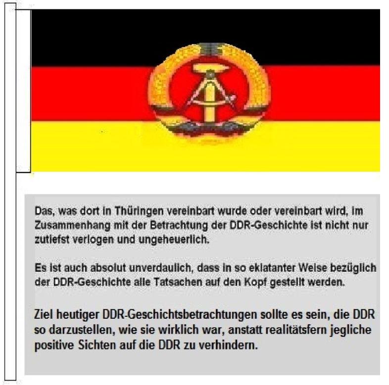 DDR-Geschichtsbetrachtung total verlogen und ungeheuerlich. Das, was dort in Thüringen vereinbart wurde oder vereinbart wird, im Zusammenhang mit der Betrachtung der DDR-Geschichte ist nicht nur zutiefst verlogen und ungeheuerlich. Es ist auch absolut unverdaulich, dass in so eklatanter Weise bezüglich der DDR-Geschichte alle Tatsachen auf den Kopf gestellt werden - Fahne mit Hammer, Zirkel und Ährenkranz. Skizze/Zeichnung: Eckart Kreitlow
