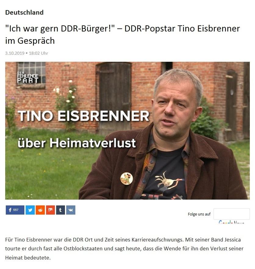 Deutschland - 'Ich war gern DDR-Bürger!' – DDR-Popstar Tino Eisbrenner im Gespräch