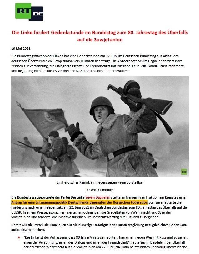 DIE LINKE fordert eine Gedenkstunde im Bundestag zum 80. Jahrestag des Überfalls Hitlerdeutschlands auf die Sowjetunion - Aus dem Posteingang von Siegfried Dienel vom 27.05.2021 - Abschnitt 1