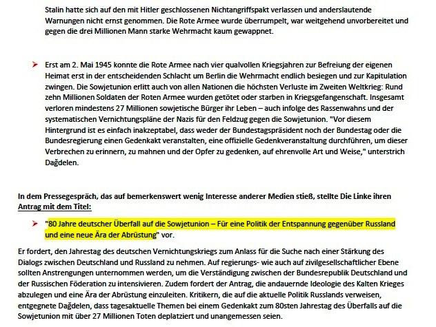 DIE LINKE fordert eine Gedenkstunde im Bundestag zum 80. Jahrestag des Überfalls Hitlerdeutschlands auf die Sowjetunion - Aus dem Posteingang von Siegfried Dienel vom 27.05.2021 - Abschnitt 2