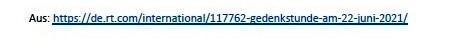 DIE LINKE fordert eine Gedenkstunde im Bundestag zum 80. Jahrestag des Überfalls Hitlerdeutschlands auf die Sowjetunion - Aus dem Posteingang von Siegfried Dienel vom 27.05.2021 - Link: https://de.rt.com/international/117762-gedenkstunde-am-22-juni-2021/