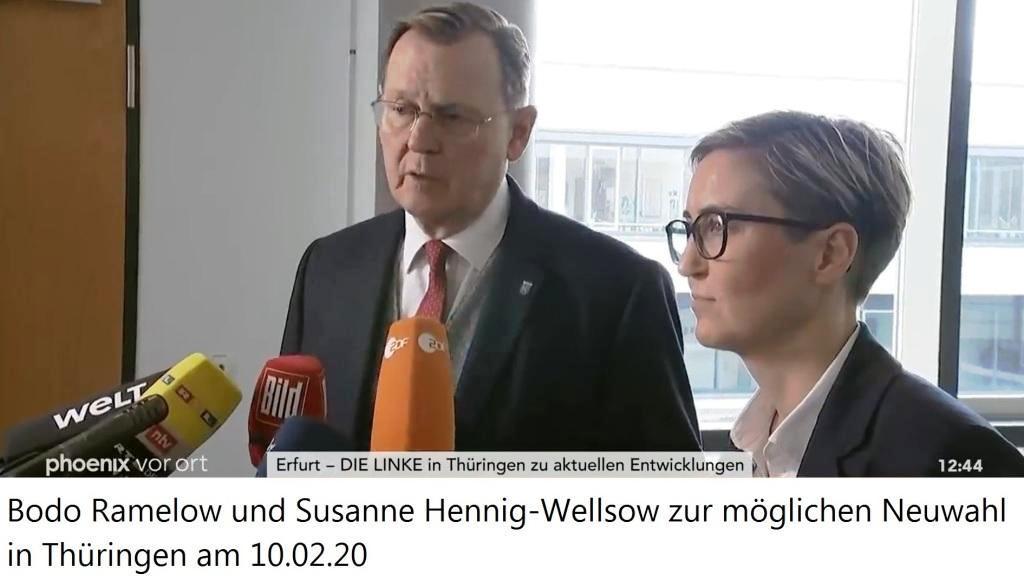 phoenix vor ort  - 10.02. 2020 - Erfurt - DIE LINKE in Thüringen zu aktuellen Entwicklungen - Bodo Ramelow und Susanne Hennig-Wellsow zur möglichen Neuwahl in Thüringen am 10.02.20