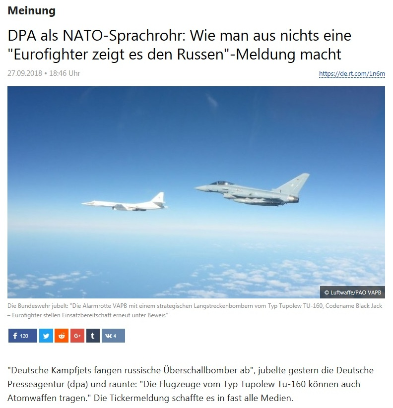 Meinung - DPA als NATO-Sprachrohr: Wie man aus nichts eine 'Eurofighter zeigt es den Russen'-Meldung macht
