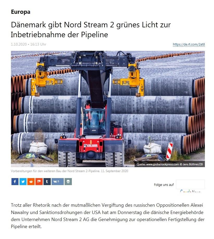 Europa - Dänemark gibt Nord Stream 2 grünes Licht zur Inbetriebnahme der Pipeline  - RT Deutsch - 01.10.2020