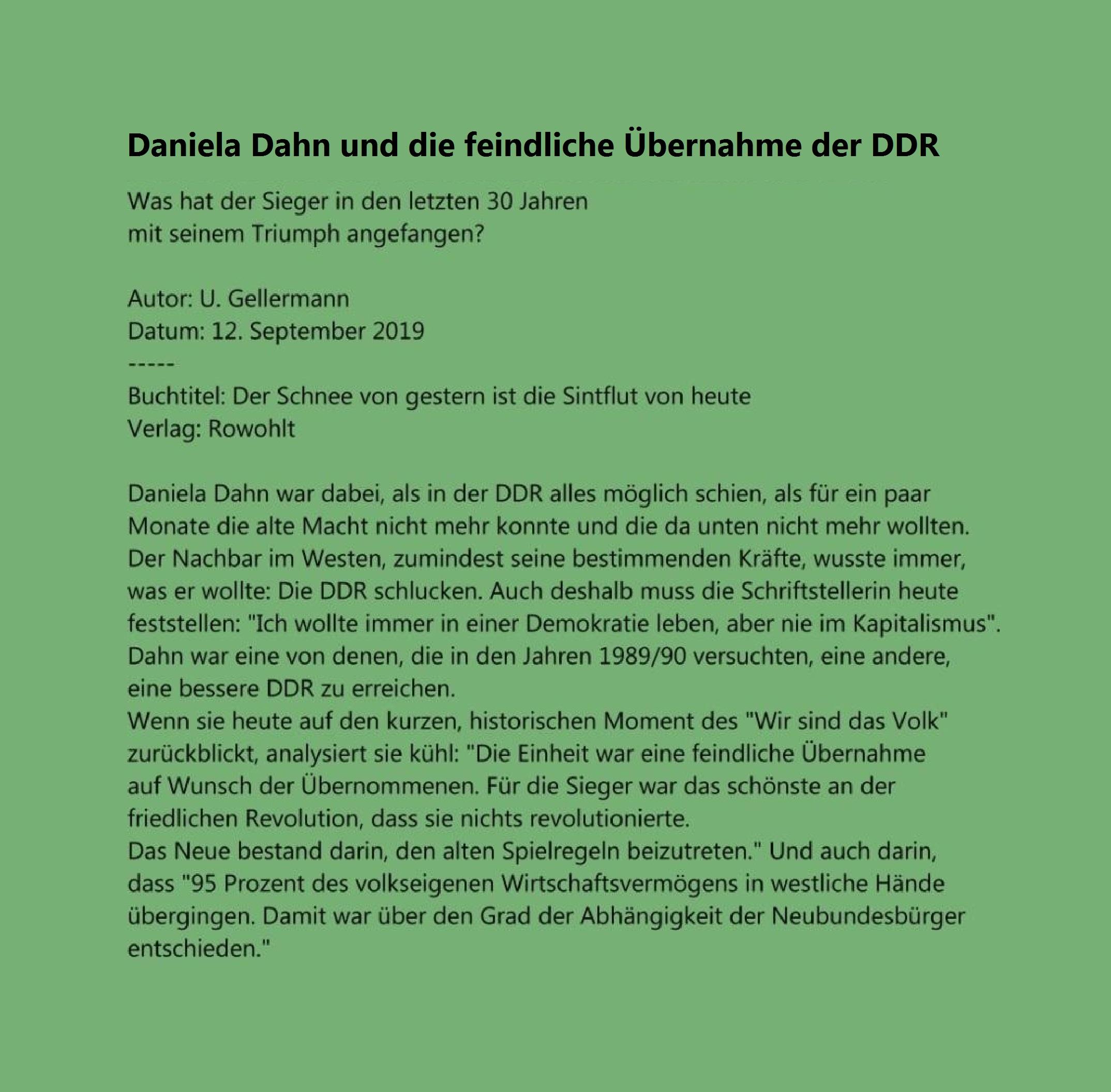 Aus dem Posteingang von Rationalgalerie.de - Daniela Dahn und die feindliche Übernahme der DDR - Was hat der Sieger in den letzten 30 Jahren mit seinem Triumph angefangen?