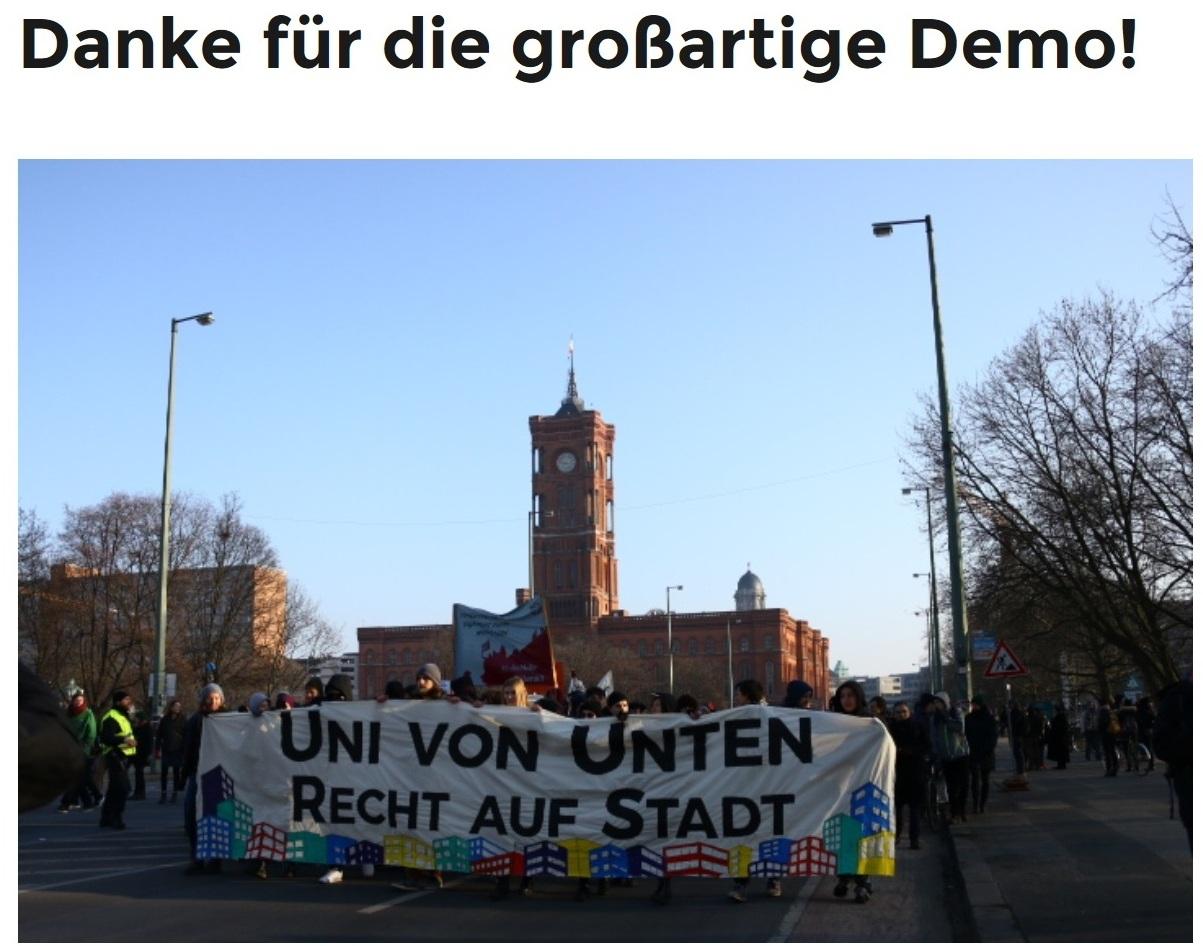Danke für die großartige Demo - Humboldt-Universität zu Berlin - Auch der Institutsrat an der Seite von Andrej Holm