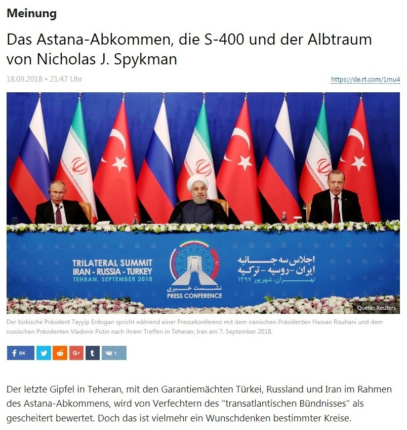 Meinung - Das Astana-Abkommen, die S-400 und der Albtraum von Nicholas J. Spykman