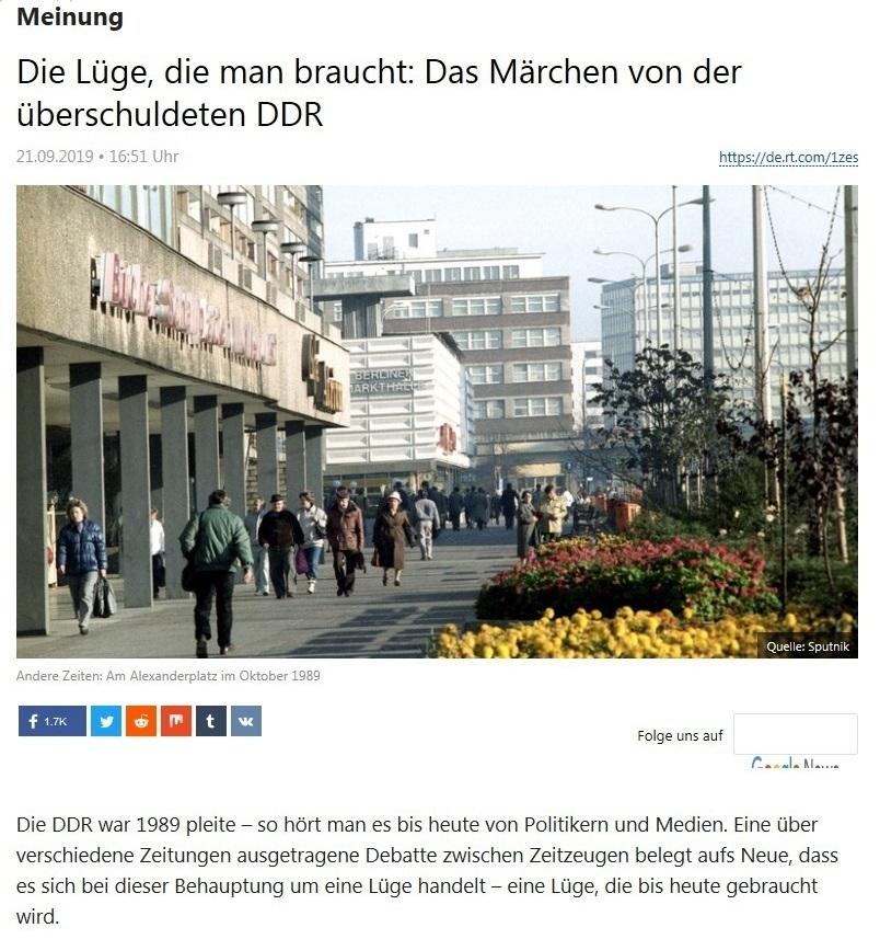 Meinung - Die Lüge, die man braucht: Das Märchen von der überschuldeten DDR