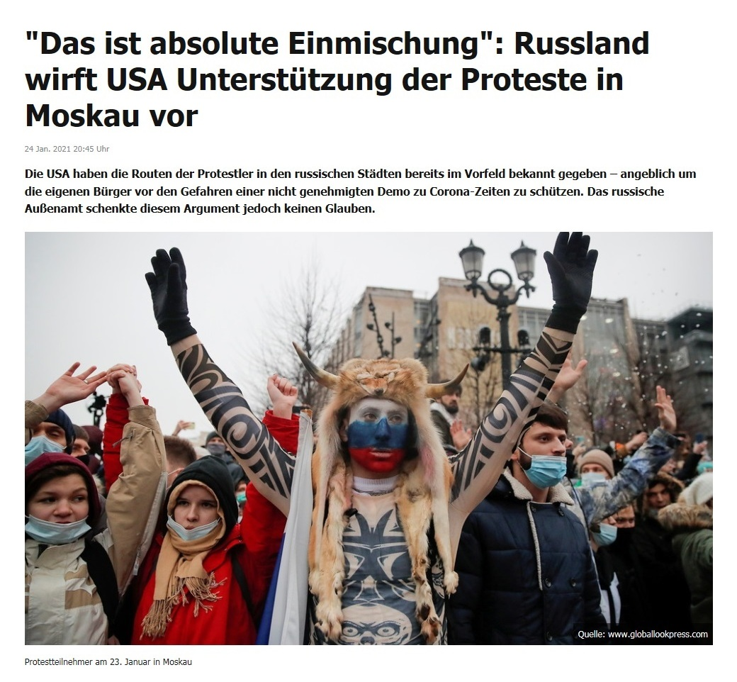 'Das ist absolute Einmischung': Russland wirft USA Unterstützung der Proteste in Moskau vor - RT DE - 24 Jan. 2021 20:45 Uhr