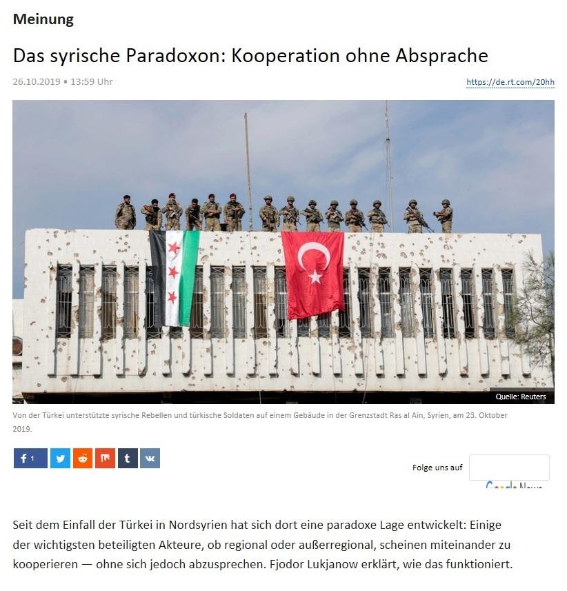 Meinung - Das syrische Paradoxon: Kooperation ohne Absprache