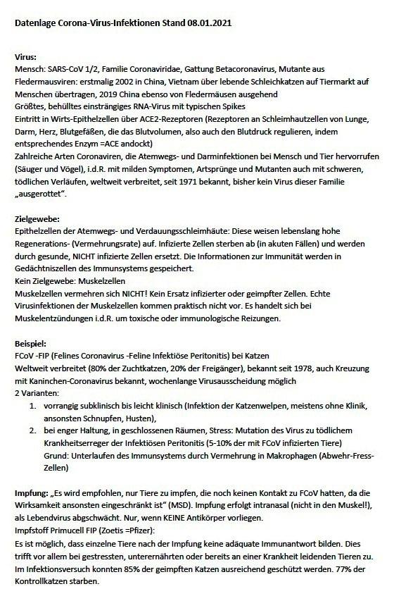 Aus dem Posteingang - Datenlage Corona-Virus-Infektionen Stand: 08.01.2021 -  Dr. Birgit Schwagerick - Seite 1 von 3