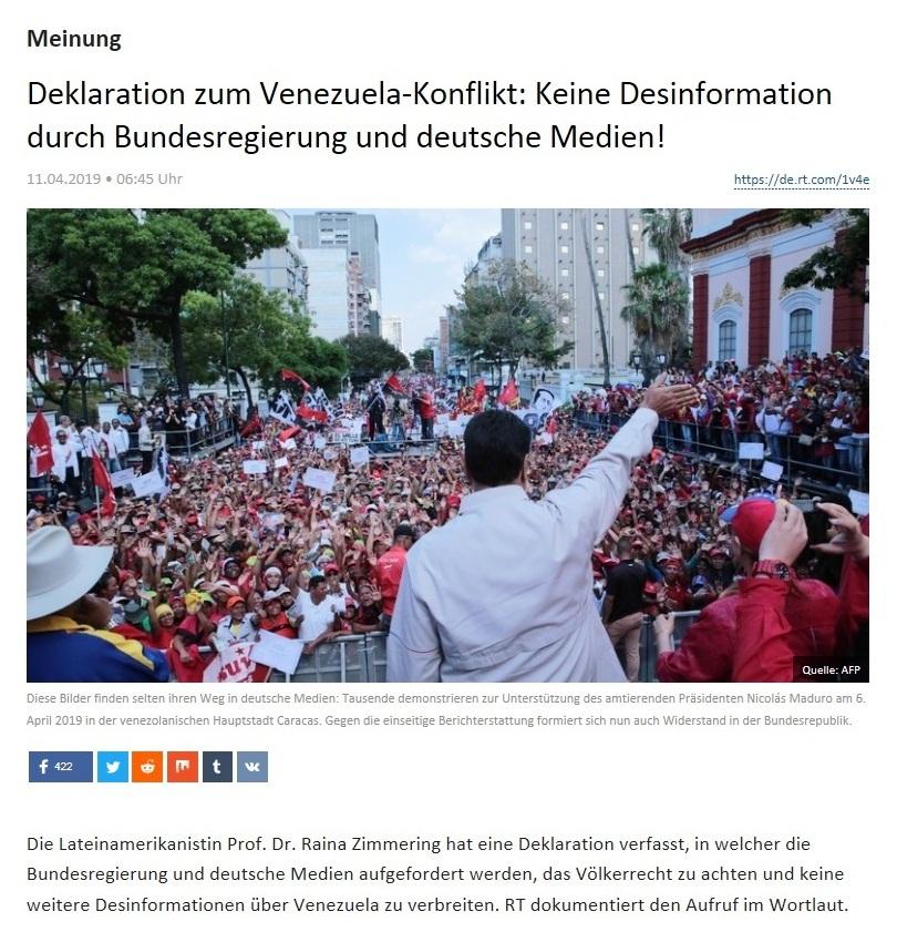 Meinung - Deklaration zum Venezuela-Konflikt: Keine Desinformation durch Bundesregierung und deutsche Medien!