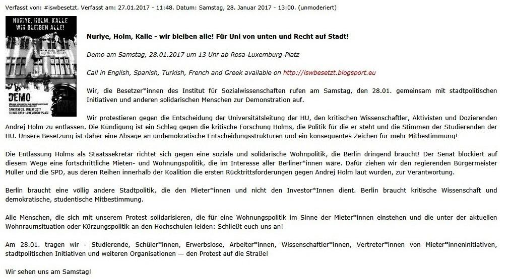 Nuriye, Holm, Kalle - wir bleiben alle! Demo für Uni von unten und Recht auf Stadt am Samstag, 28.01.2017 um 13 Uhr in Berlin ab Rosa-Luxemburg-Platz