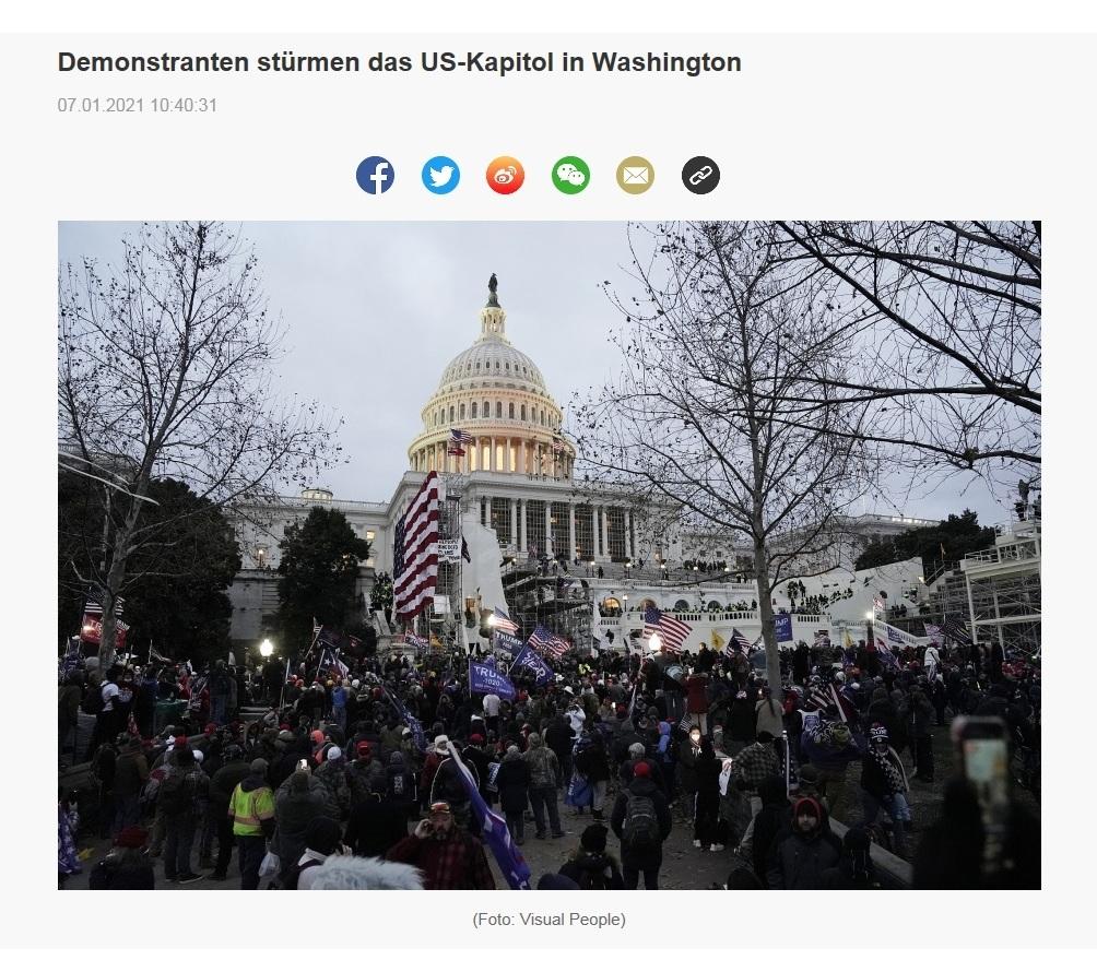 Demonstranten stürmen das US-Kapitol in Washington - CRI online Deutsch - 07.01.2021 10:40:31