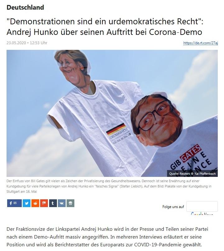 Deutschland - 'Demonstrationen sind ein urdemokratisches Recht': Andrej Hunko über seinen Auftritt bei Corona-Demo  - RT Deutsch - 23.05.2020