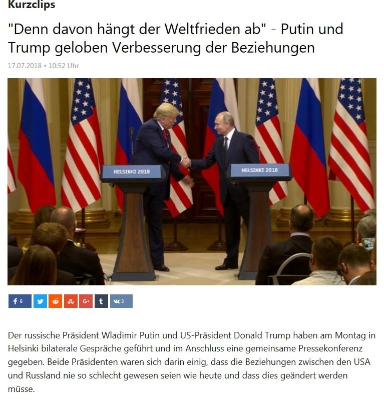 Kurzclips - 'Denn davon hängt der Weltfrieden ab' - Putin und Trump geloben Verbesserung der Beziehungen