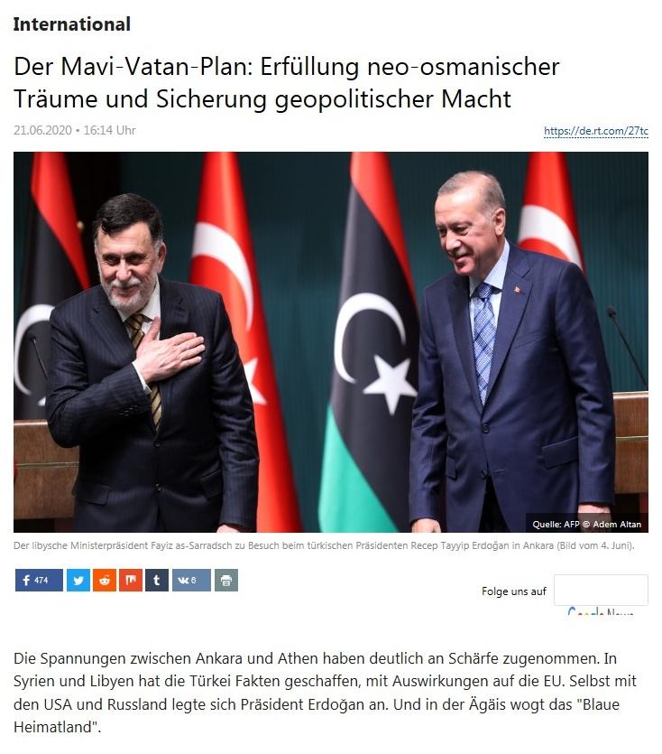 International - Der Mavi-Vatan-Plan: Erfüllung neo-osmanischer Träume und Sicherung geopolitischer Macht  - RT Deutsch - 21.06.2020