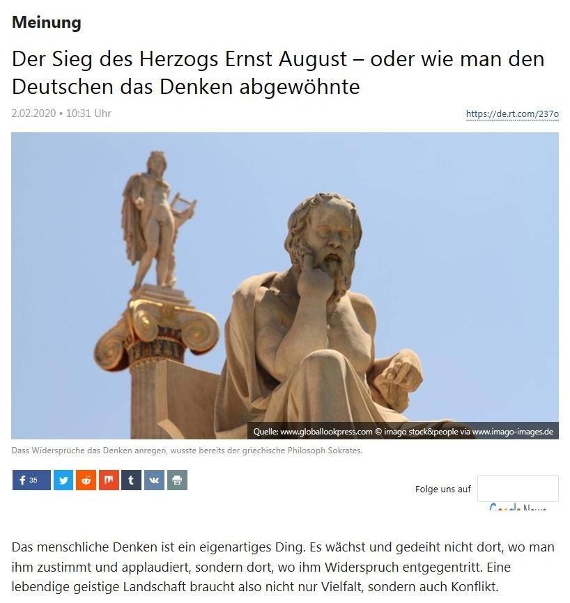 Meinung -  Der Sieg des Herzogs Ernst August – oder wie man den Deutschen das Denken abgewöhnte