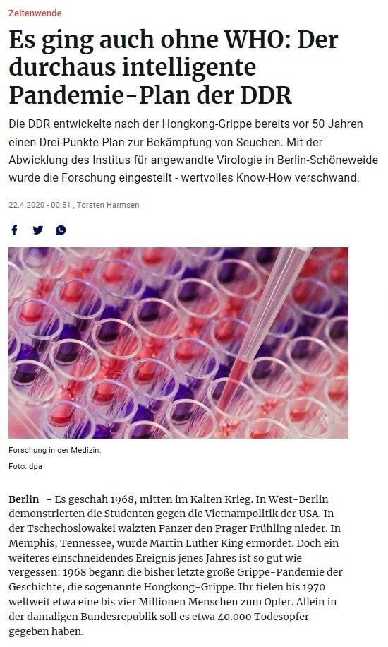Aus dem Posteingang - Der durchaus intelligente Pandemie-Plan der DDR - Berliner Zeitung vom 22.04.2020