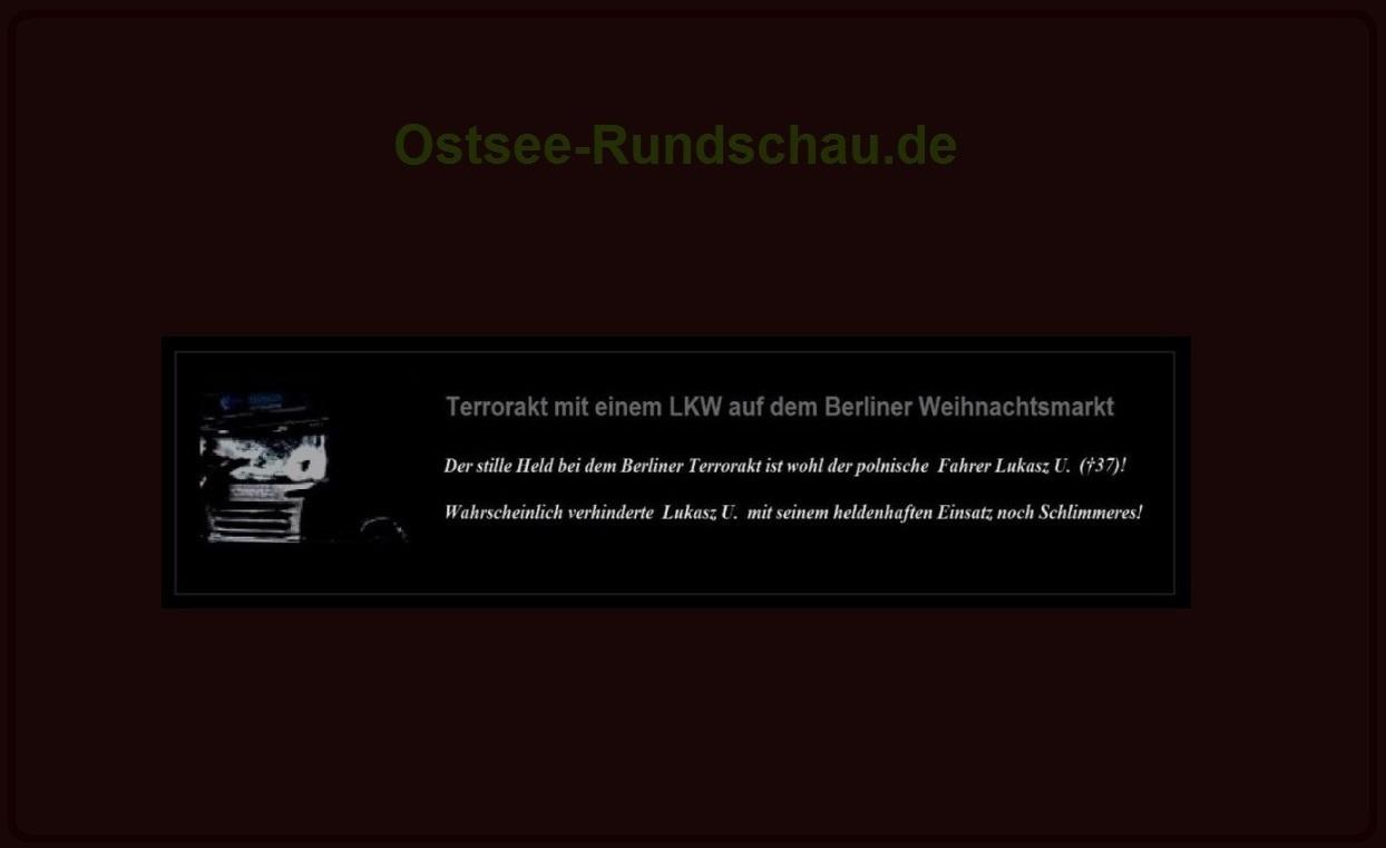 Schrecklicher Terrorakt in der Hauptstadt  Berlin  - Der stille Held bei dem Berliner Terrorakt ist wohl der polnische  Fahrer Lukasz U. (†37)! - Wahrscheinlich verhinderte  Lukasz U.  mit seinem heldenhaften Einsatz noch Schlimmeres! - Mindestens 12 Tote und 48 Verletzte bei schrecklichem Terrorakt in der Hauptstadt  Berlin!