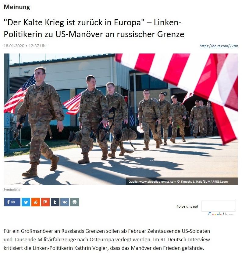 Meinung - 'Der Kalte Krieg ist zurück in Europa' – Linken-Politikerin zu US-Manöver an russischer Grenze