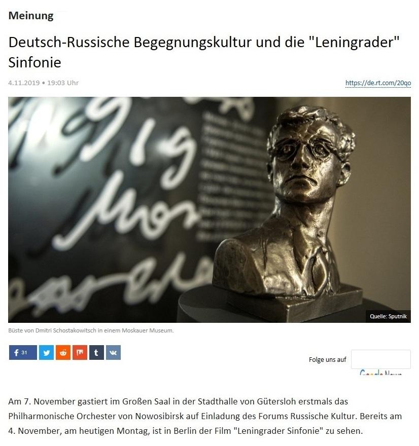 Meinung - Deutsch-Russische Begegnungskultur und die 'Leningrader' Sinfonie