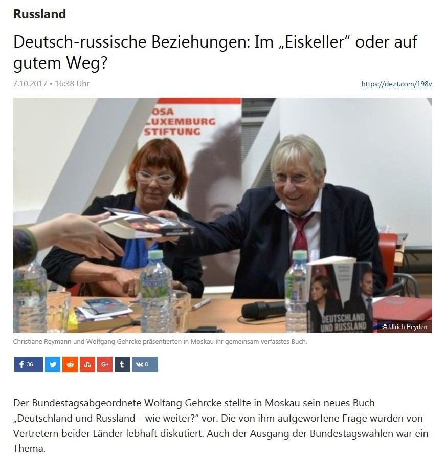 """Deutsch-russische Beziehungen: Im """"Eiskeller"""" oder auf gutem Weg? - Buchvorstellung des Bundestagsabgeordneten Wolfgang Gehrcke in Moskau"""