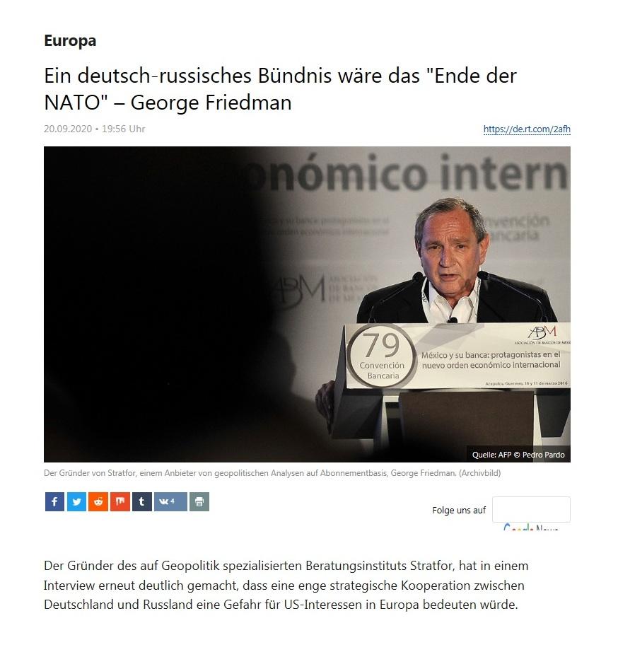 Europa - Ein deutsch-russisches Bündnis wäre das 'Ende der NATO' – George Friedman  - RT Deutsch - 20.09.2020