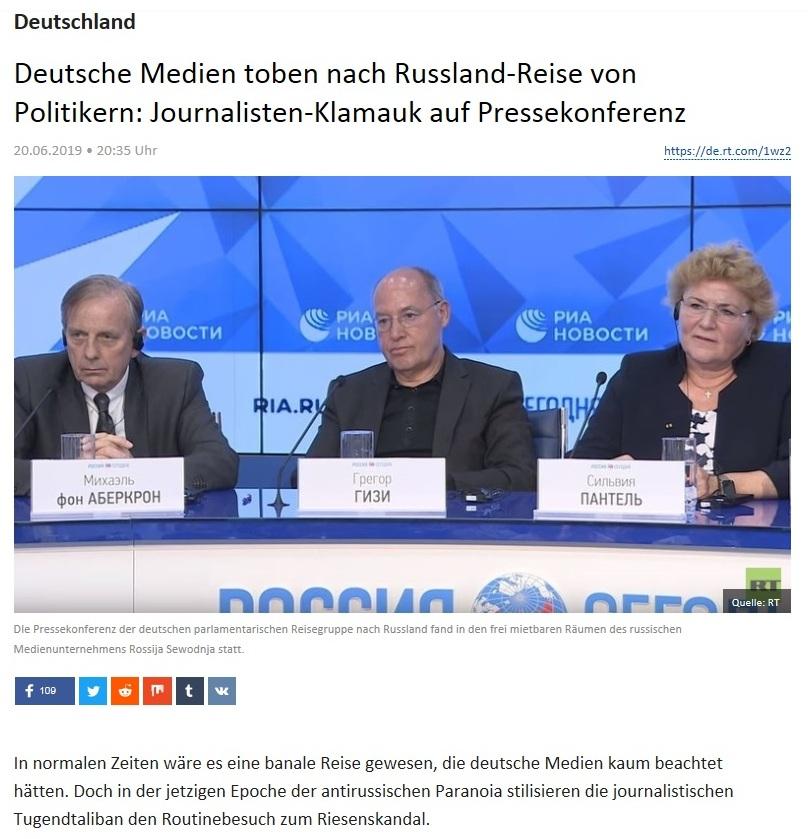 Deutschland - Deutsche Medien toben nach Russland-Reise von Politikern: Journalisten-Klamauk auf Pressekonferenz
