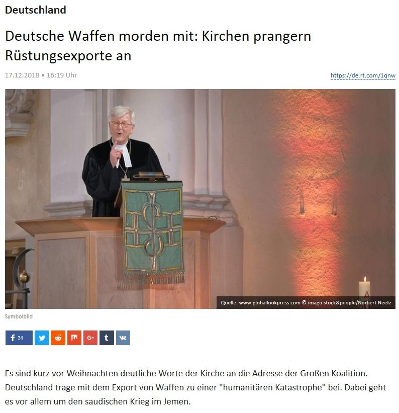 Deutschland - Deutsche Waffen morden mit: Kirchen prangern Rüstungsexporte an