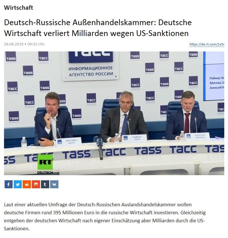 Wirtschaft - Deutsch-Russische Außenhandelskammer: Deutsche Wirtschaft verliert Milliarden wegen US-Sanktionen