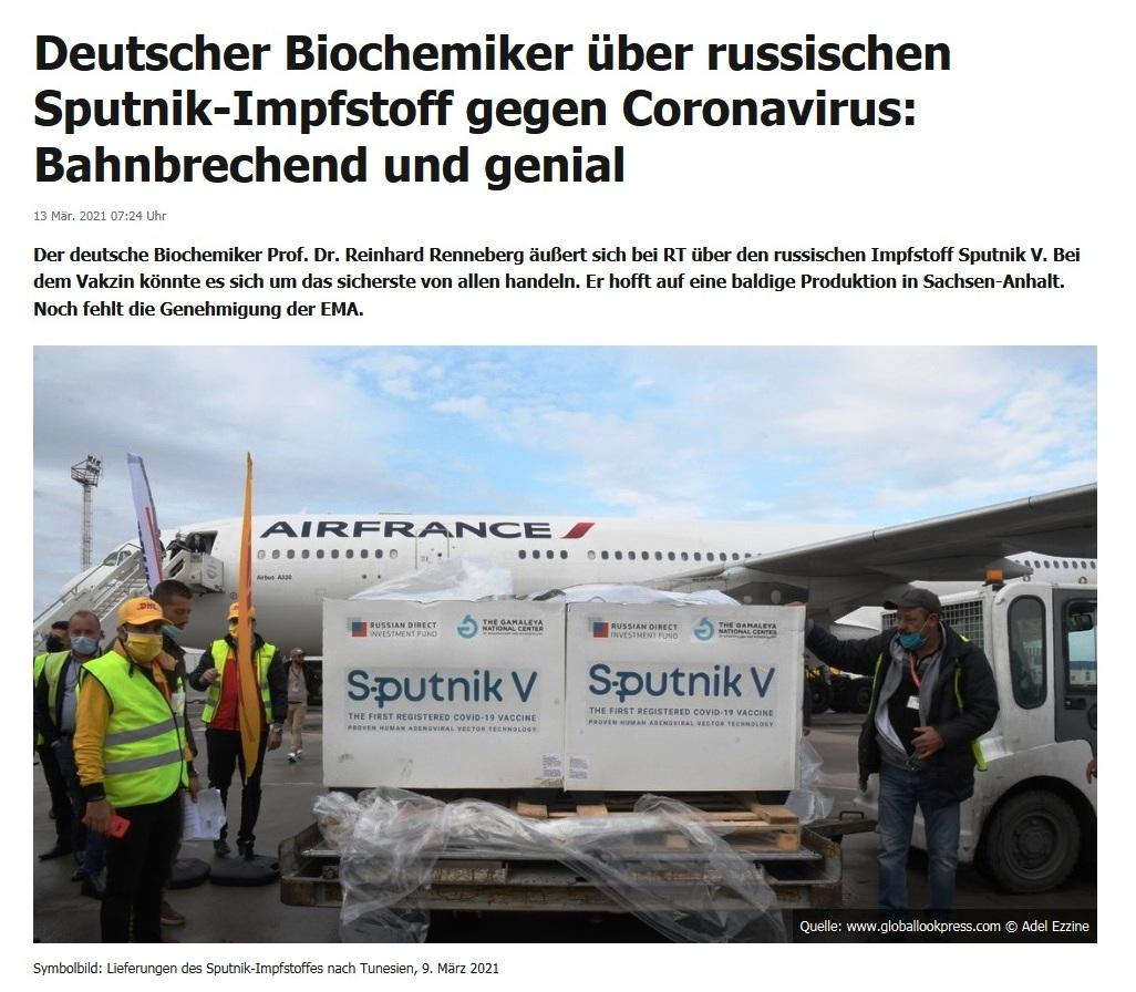 Deutscher Biochemiker über russischen Sputnik-Impfstoff gegen Coronavirus: Bahnbrechend und genial -  RT DE - 13 Mär. 2021 07:24 Uhr
