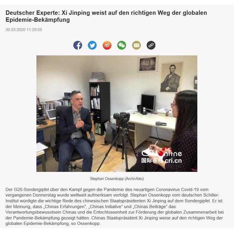 Deutscher Experte: Xi Jinping weist auf den richtigen Weg der globalen Epidemie-Bekämpfung - China Radio International - CRI online Deutsch -  30.03.2020