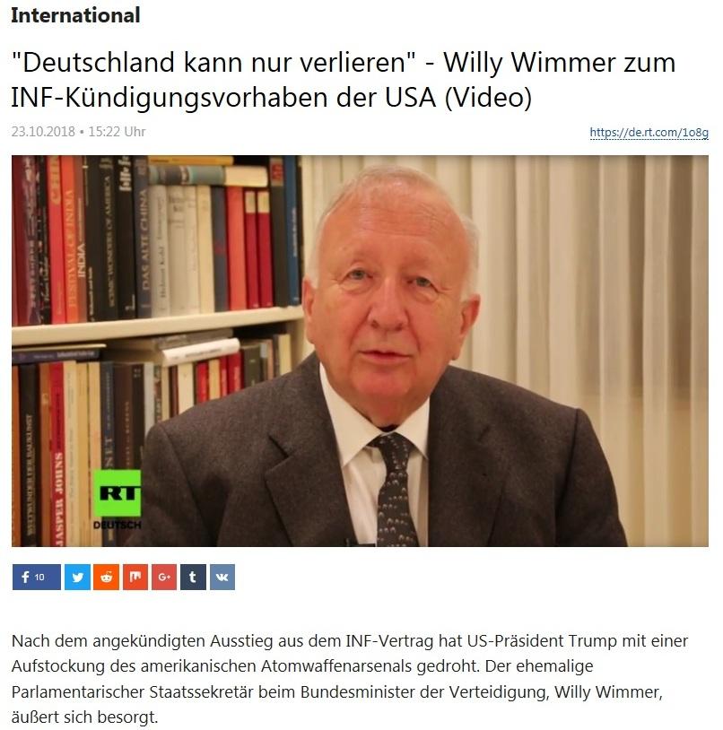 International - 'Deutschland kann nur verlieren' - Willy Wimmer zum INF-Kündigungsvorhaben der USA (Video)