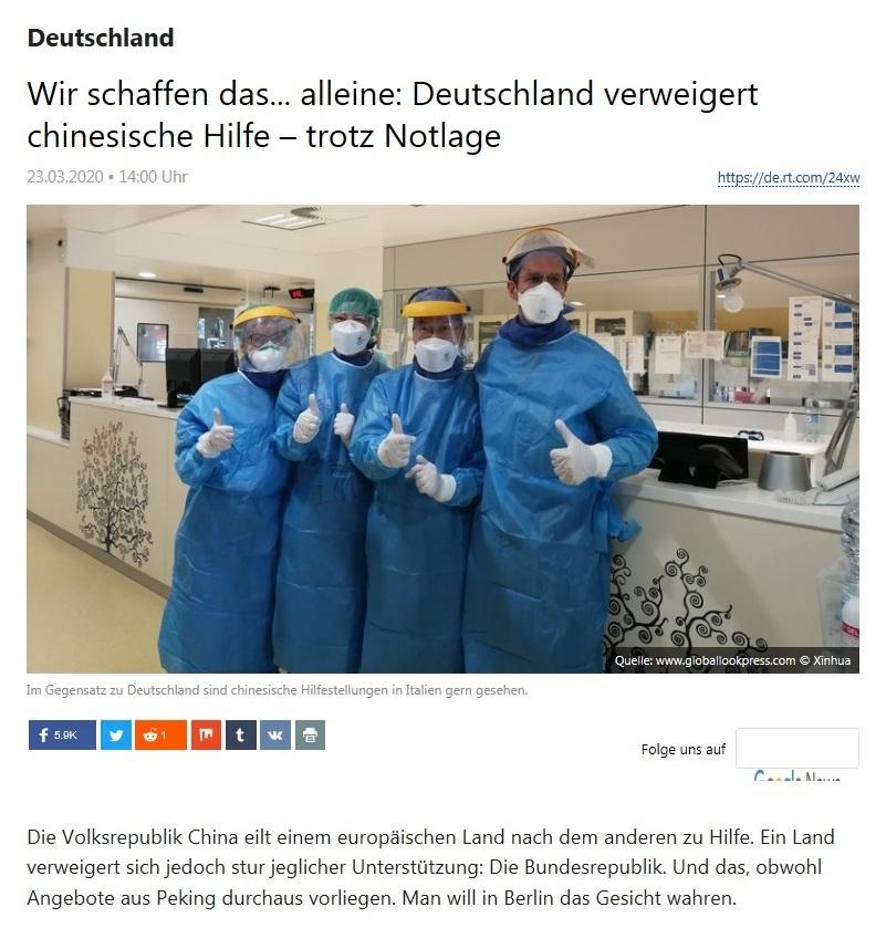 Deutschland - Wir schaffen das... alleine: Deutschland verweigert chinesische Hilfe – trotz Notlage - RT DEUTSCH - 23.03.2020