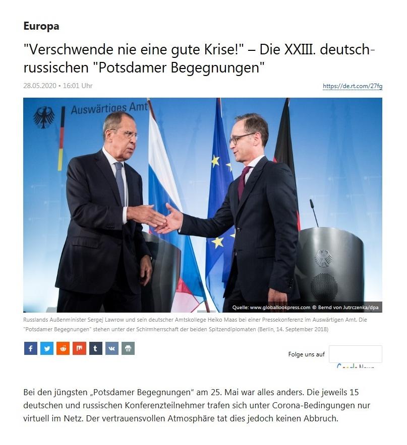 'Verschwende nie eine gute Krise!' – Die XXIII. deutsch-russischen 'Potsdamer Begegnungen'  - RT Deutsch - 25.05.2020