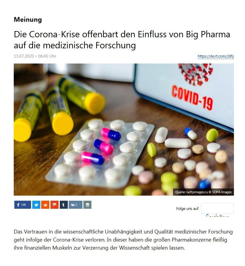 Meinung - Die Corona-Krise offenbart den Einfluss von Big Pharma auf die medizinische Forschung  - RT Deutsch - 13.07.2020