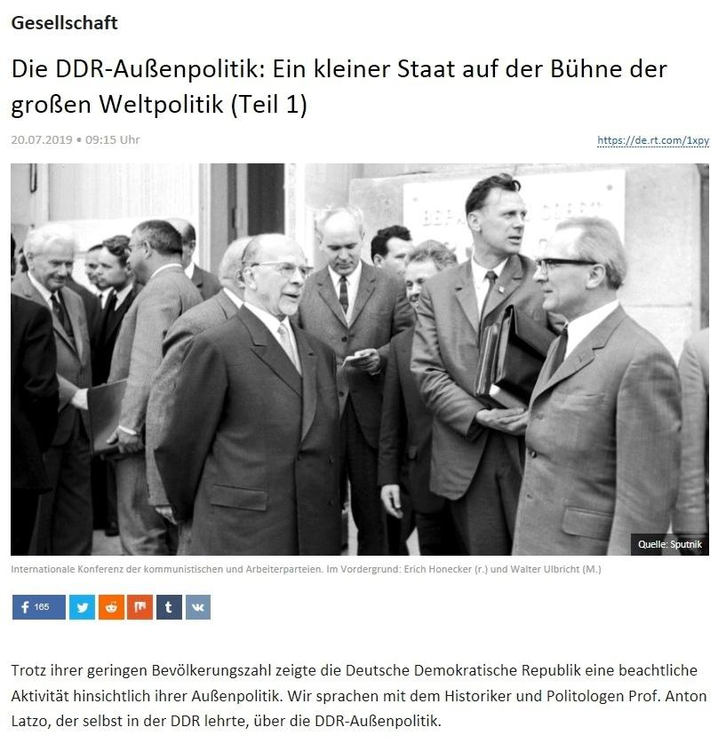 Gesellschaft - Die DDR-Außenpolitik: Ein kleiner Staat auf der Bühne der großen Weltpolitik (Teil 1)