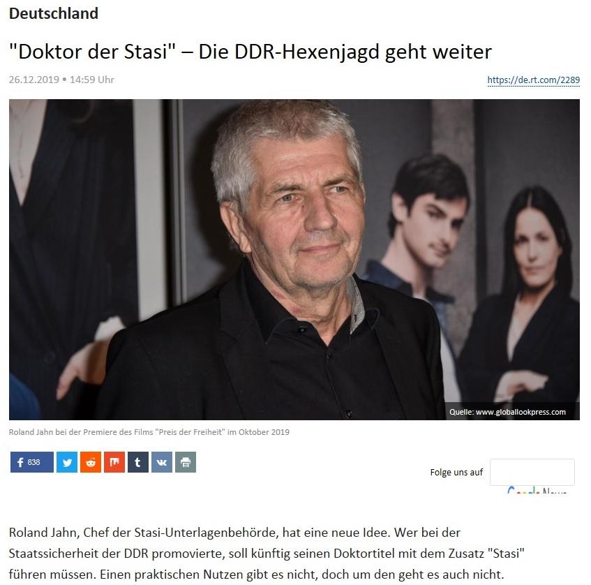 Deutschland - 'Doktor der Stasi' – Die DDR-Hexenjagd geht weiter