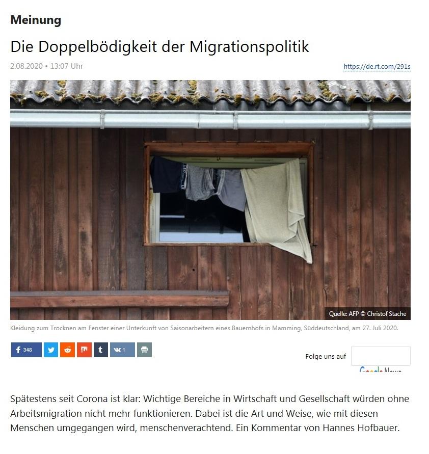 Meinung - Die Doppelbödigkeit der Migrationspolitik - RT Deutsch - 02.08.2020