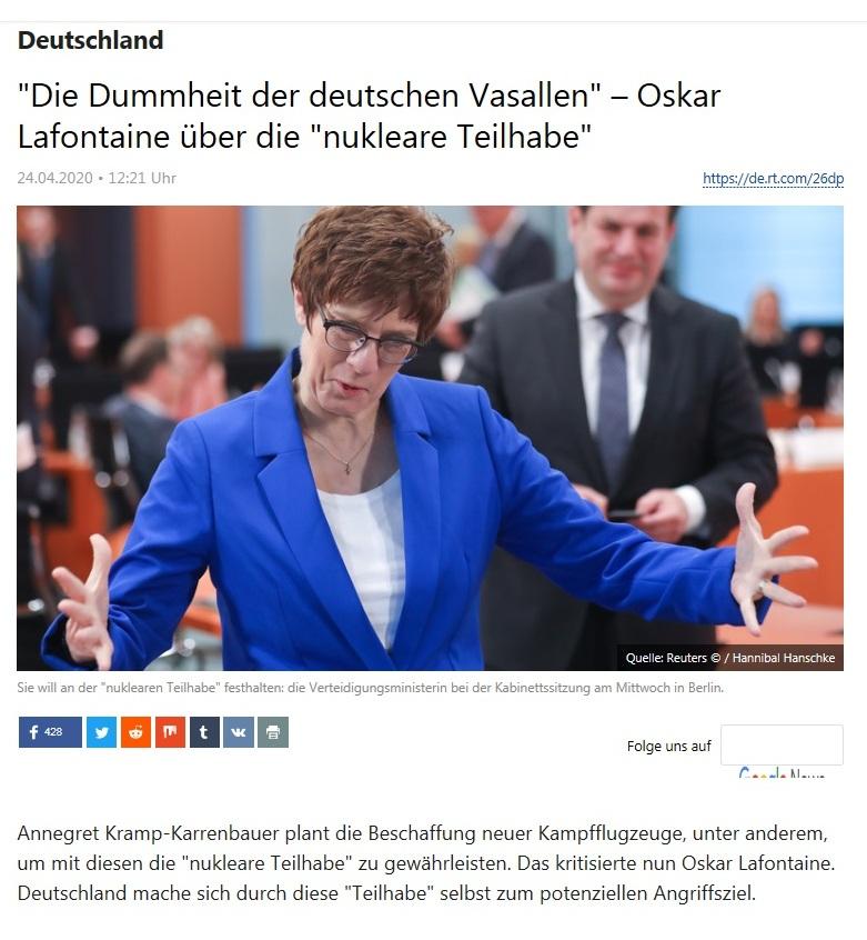 Deutschland - 'Die Dummheit der deutschen Vasallen' – Oskar Lafontaine über die 'nukleare Teilhabe'  - RT Deutsch -  24.04.2020