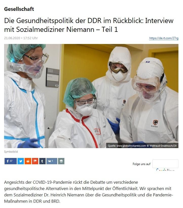 Gesellschaft -  Die Gesundheitspolitik der DDR im Rückblick: Interview mit Sozialmediziner Niemann – Teil 1 - RT DEUTSCH - 21.06.2020
