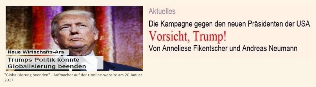 Vorsicht, Trump! - Neue Rheinische Zeitung - Die Kampagne gegen den neuen amerikanischen Präsidenten Donald Trump - Von Anneliese Fikentscher und Andreas Neumann