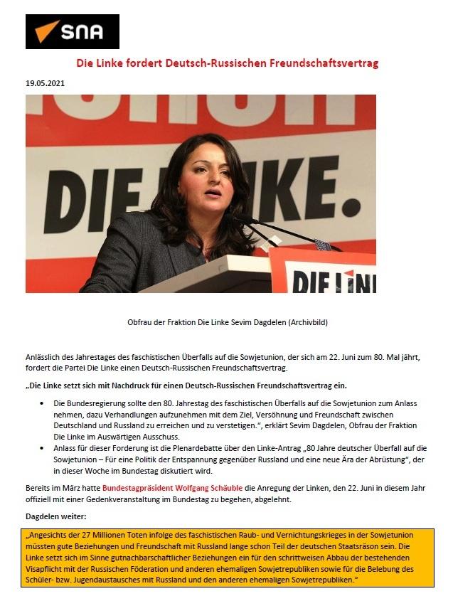 DIE LINKE fordert einen Deutsch-Russischen Freundschaftsvertrag - SNA 19.05.2021  - Aus dem Posteingang von Siegfried Dienel vom 27.05.2021 - Abschnitt 1