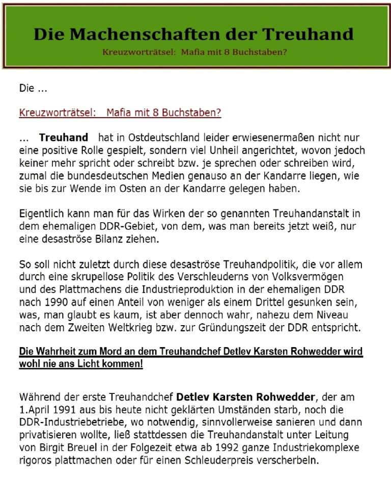 Die Machenschaften der Treuhand - Ostsee-Rundschau.de