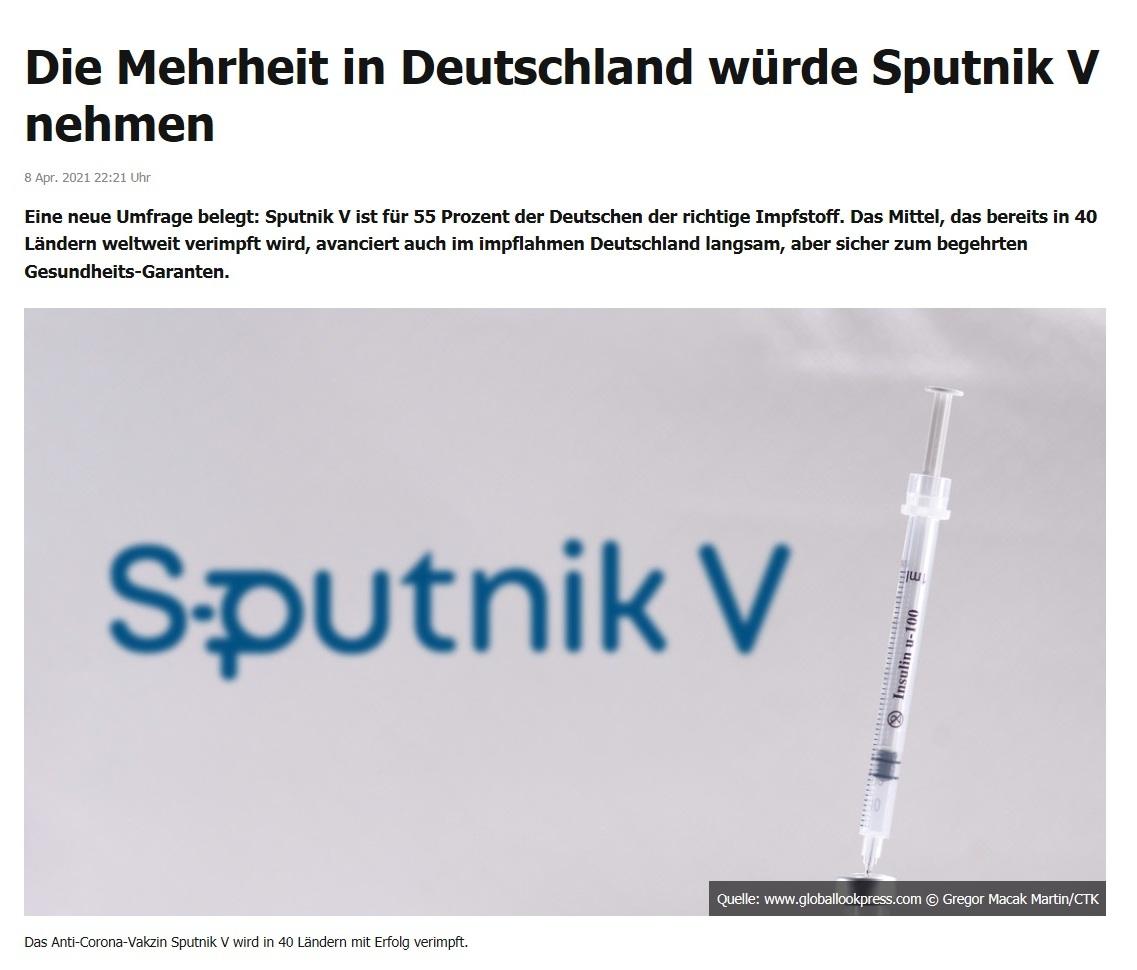 Die Mehrheit in Deutschland würde Sputnik V nehmen -  RT DE -  8 Apr. 2021 22:21 Uhr