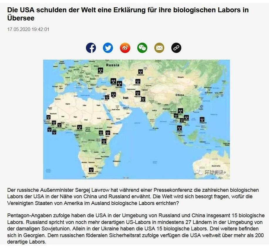Die USA schulden der Welt eine Erklärung für ihre biologischen Labors in Übersee - CRI online Deutsch - 17.05.2020